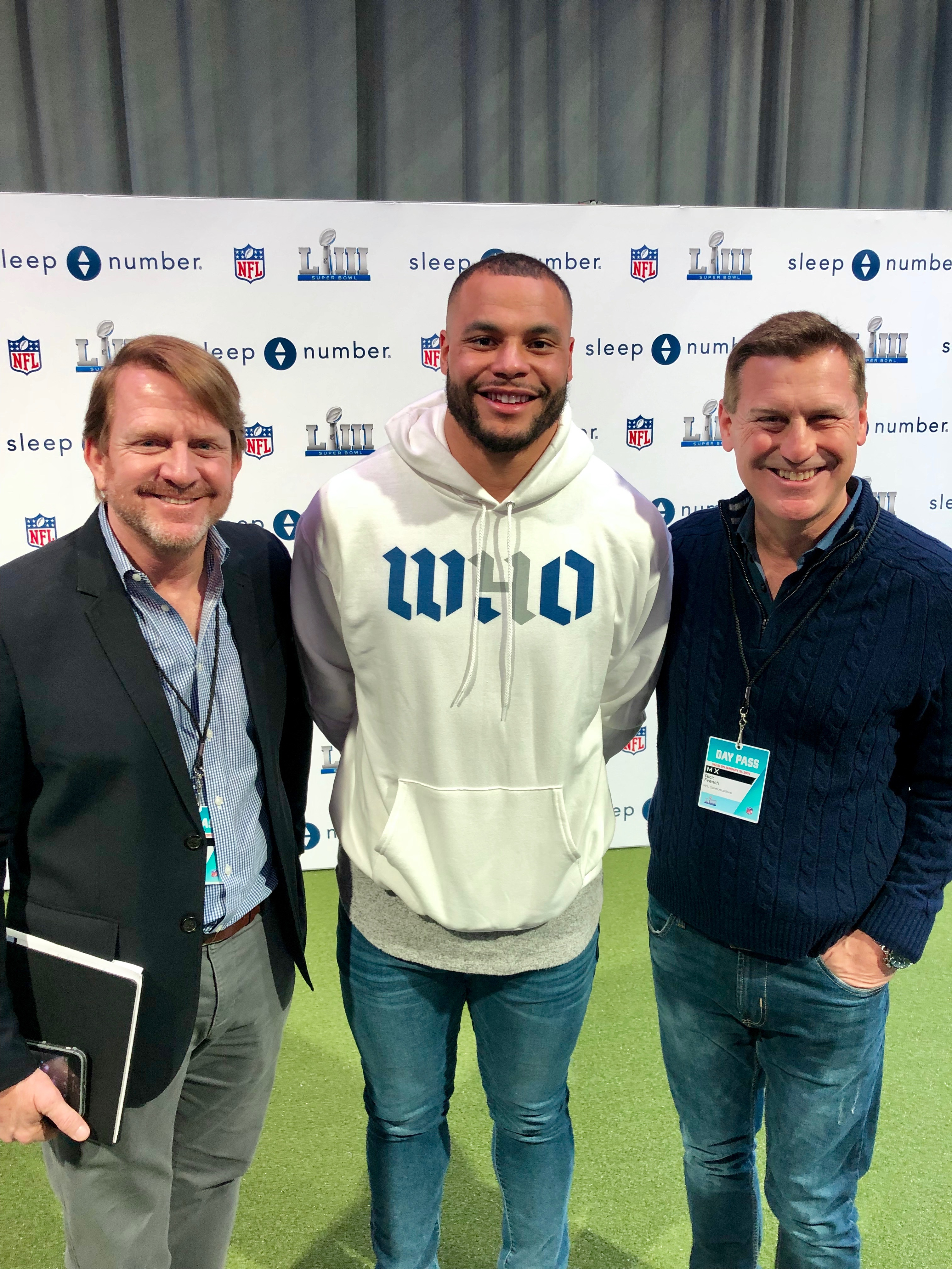 Rick French (right) with Charles Upchurch (left) of FWV and Dak Prescott, Quarterback of the Dallas Cowboys pose at the NFL Experience.